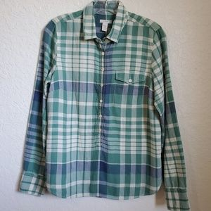EUC J.CREW WOMEN'S PLAID SHIRT SZ SM